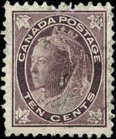 1897 Used Canada 10c F-VF Scott #73 Queen Victoria Maple Leaf Stamp