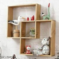 54cm Wall Mounted Wood Storage Intersecting Cube shelves bookcase Shelving Rack