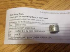 Vtg 1960 100% New Jersey Federal Black Duck Band Avise F&W Style 657 Bird Goose