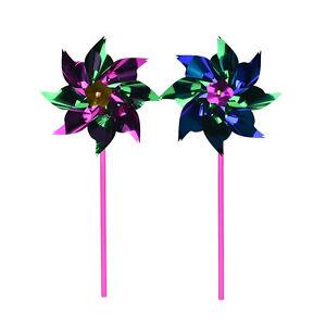 5/10/15 Holographic Garden Windmill Single Flower Window Home Decor Kids Toy .bu