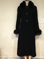 Marvin Richards Women's Winter fox fur Wool&Cashmere Black long coat size 12