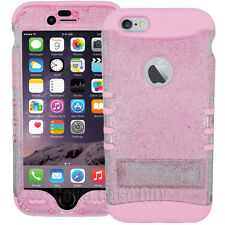 Light Pink Clear Glitter Hybrid Impact Stand Cover Case for Apple iPhone 6 4.7""