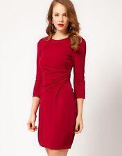 KAREN MILLEN RARE RED JERSEY PLEATED FRONT DRESS SIZE UK 12.