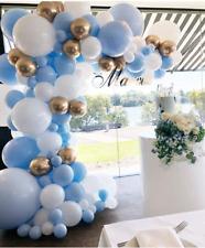 DIY Balloon Garland Kit Macaron Pastel Blue White Chrome Gold Baby Shower Party