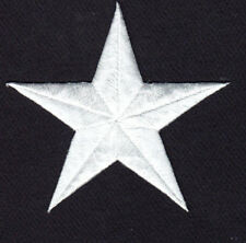 """STARS - WHITE 3"""" STAR Iron On Embroidered Applique Patch"""