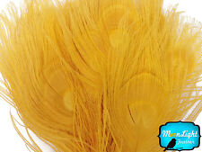 5 Pieces Golden Yellow Bleached & Dyed Tails Eye Peacock Feathers Wedding Craft