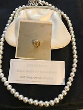 Perlenkette Swarovski Perlen,  Geldbörse, Herzanstecker