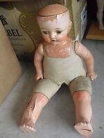 "Vintage 1920s EIH Co EI Horsman Composition Cloth Baby Boy Doll 18"""