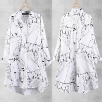 ZANZEA Neu Damen Printed Collared Bluse Tops Weiß Langarm Fashion T Shirts Hemd