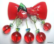 RED LUCITE BOW CHERRY BEADS CZECH GLASS LEAF BROOCH PIN