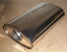 """8"""" x 4"""" Oval x 16"""" Long Universal stainless steel exhaust silencer"""