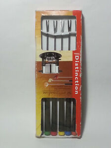 Trudeau Distinction Set of 6 Fondue Forks Assocred with Color Tips for Easy Id