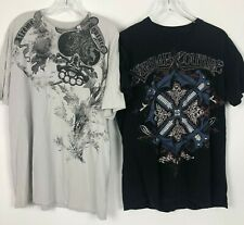 2 Extreme Couture Mens White Black Short Sleeve Graphic Skull T Shirts Size XL