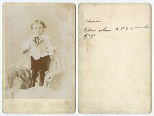 CAB PHOTO PORTRAIT OF A 2 YR OLD BOY NAMED EDWIN FROM BUTLER, PA, BY WAGNER