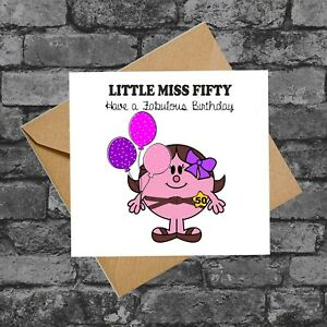 C265 LITTLE MISS FIFTY CHEEKY FUNNY 50TH  BIRTHDAY CARD FRIEND DAUGHTER