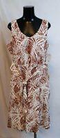 Apt 9. Women's Floral Print Sleeveless Tie Waist Dress TM8 White Size XL NWT