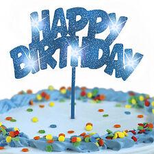 Cake Topper Blue Glitter HAPPY BIRTHDAY LED Flashing Decoration FREE SHIPPING!!