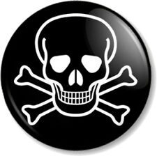 """Skull and Crossbones 1"""" Pin Button Badge Halloween Pirate Flag Jolly Roger Black"""