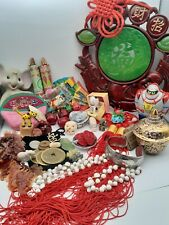 Junk Drawer Lot Asian Theme Collectibles Coins Toys Figurines Jade Cloisonne