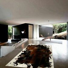 NEW COWHIDE RUG PATCHWORK LEATHER CARPET. Cowskin Cow Hide Leather. BROWN WHITE