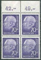 Bund Nr. 263 x w ORVB Heuss Oberrand Viererblock postfrisch 70 Pf. VB BRD 1956
