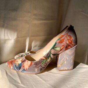 Nine West Velvet Floral Round Toe Heels Udele Pump