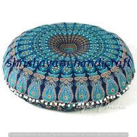 "32"" Indian Floor Pillow Cover Cotton Mandala Sham Large Cushion Pouf Meditation"