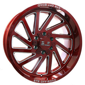 20X10 6X135 STR 84 METALLIC RED MILL SPOKE MADE FOR FORD F150