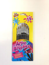 12 Pony Hair Artist Brushes Assorted Sizes Bristle Flat Tipped Schools Kids Art