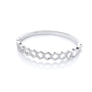 Sterling Silver Bangle J JAZ Cubic Zirconia Stones Hexagon Shaped Bracelet