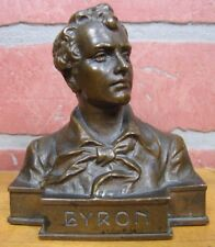 Antique Bronze Lord BYRON Small Decorative Art Bust signed H MULLER (1873-1937)