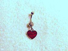 Heart Black Pink Zebra Print Belly Button Navel Ring Body Jewelry Piercing 14g