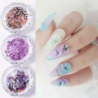 UK- Charm DIY Manicure Nail Art Flakes Slices Nail Sequins 3D Butterfly 12Colors
