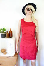 Veronika Maine dress size 8 red wiggle textured short tank sleeveless shift chic