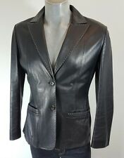 Cerruti 1881 black leather short jacket size 14