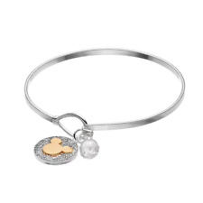 MICKEY MOUSE DISNEY NEVER STOP DREAMING TWO TONE CRYSTAL BANGLE CHARM BRACELET