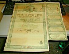DEBITO PUBBLICO DEL REGNO D'ITALIA CARTELLA AL PORTATORE  L. 500 - 1934