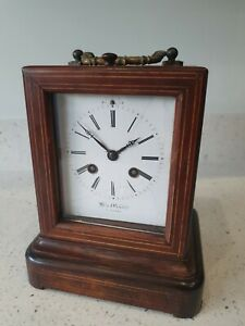 French inlaid rosewood carriage/library clock Hry Marc Paris Project