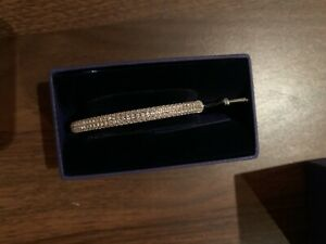 Swarovski Stone Bangle Silver Stainless Steel New  In Gift Box