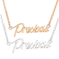 Exquisite Letter Words Precious Pendant Choker Chain Necklace Silver/Gold
