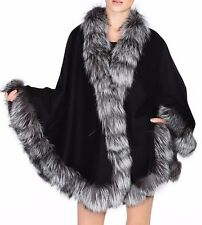 Cashmere Cape Wrap Shawl with Silver Fox Fur Trim New