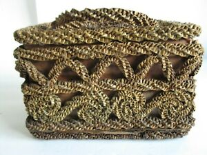 Antique 19thC Victorian American Folk Art  Woven Wicker Straw Covered box basket