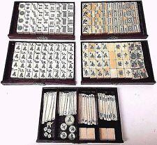 Vintage Antique Mah Jongg Mahjong Game Set Wood Box - 148 Bone Bamboo Tiles