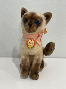 Likely Vintage Steiff Simh Siamese Cat Stuffed Animal Toy w/ Chest Tag