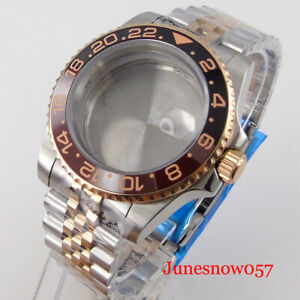 Fit NH35A Two Tone Rose Gold Root Beer Watch Case Jubilee Strap Sapphire Glass