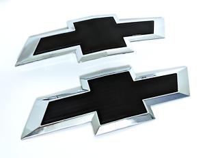 Chevy Silverado 1500 2500HD 3500HD Black Front Rear Tailgate Bowtie Emblem Set