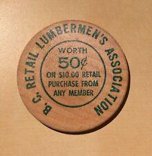 BC Retail Lumbermen's Association 50 Cents National Forest 1961 - Wooden Nickel