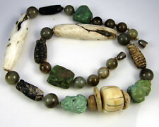 Estate  Vintage Rare Carved Turquoise Frog Cicada Agate Bead 278 Gram Necklace
