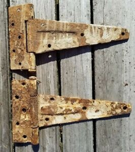 Large Rustic HINGES Vtg PRIMITIVE Gate Barn Shed Door Shelf SALVAGE Heavy Metal