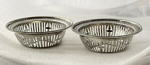 LOVELY PAIR OF ANTIQUE STERLING SILVER BON BON DISHES BY APRREY- HALLMARKED 1900
